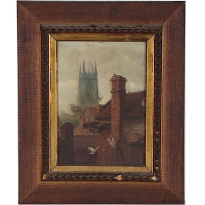 Oil Painting of Rooftops and Cathedral, Late 19th Century