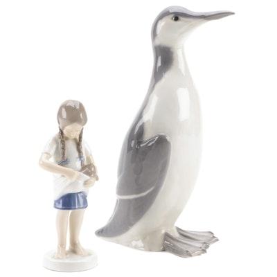 "Royal Copenhagen ""Guillimot"" and ""Little Mother"" Porcelain Figurines, Mid-20th C"