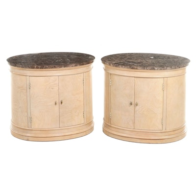 Pair of Hickory White Neoclassical Style White Ash Burl & Marble Top Nightstands