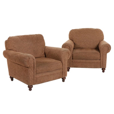 Lane Upholstered Rolled-Arm Club Chairs