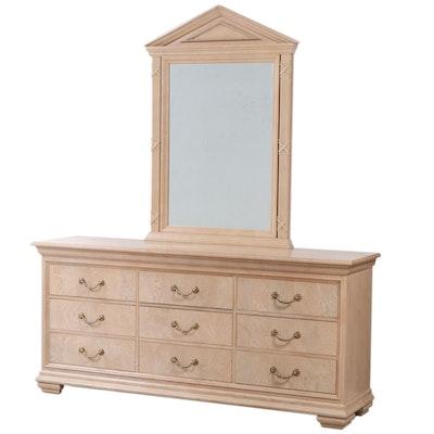 Hickory White Neoclassical Style White Ash Burl Nine-Drawer Dresser