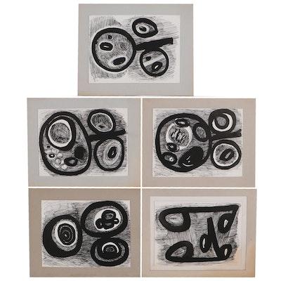 Achi Sullo Organic Abstract Ink Drawings, Circa 1959