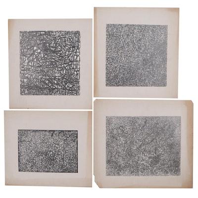 Achi Sullo Abstract Expressionist Style Graphite Drawings, Circa 1955