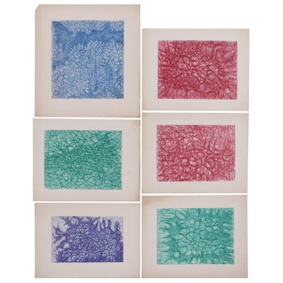Achi Sullo Abstract Expressionist Style Ink Drawings, Circa 1959