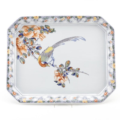 Tiffany & Co. Hand-Painted French Faïence Bird on Branch Platter