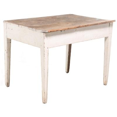 American Primitive Parcel-Painted Wood Work Table
