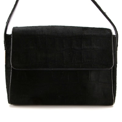 Gucci Flap Shoulder Bag in Croc-Embossed Calf Hair and Smooth Glazed Leather