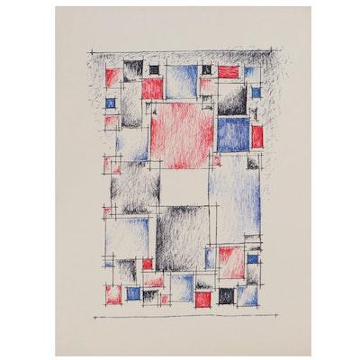 Achi Sullo Geometric Sculpture Study Mixed Media Drawing, Circa 1959