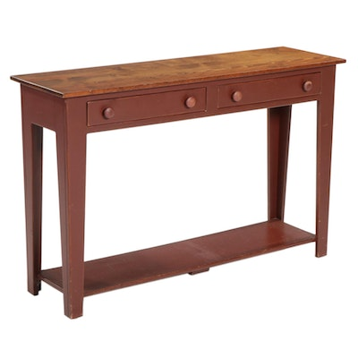 American Primitive Style Painted Wood Two-Drawer Console Table
