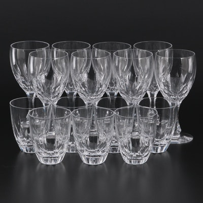 """Kosta Boda """"Fountain Clear"""" Crystal Claret Wine Glasses and Flat Tumblers"""