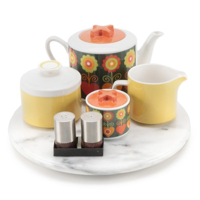 Mid Century Modern Style Teapot and Sugar Bowl with Other Tableware
