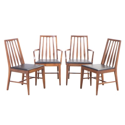 Four Mid Century Modern Ash and Black Vinyl Spindle-Back Dining Chairs