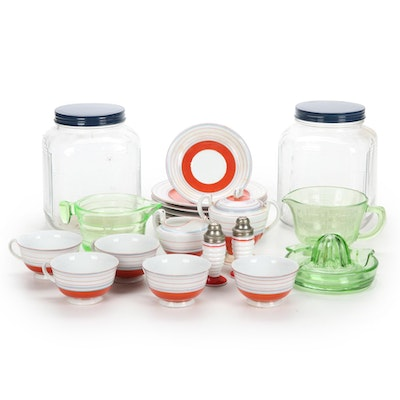 Federal Vaseline Glass Rimmed Juicer and Measuring Cups with Other Tableware