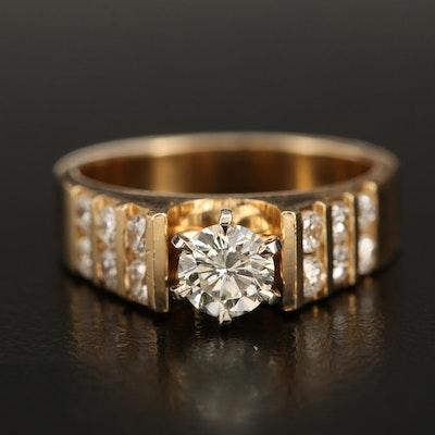 14K 0.76 CTW Cathedral Set Diamond Ring