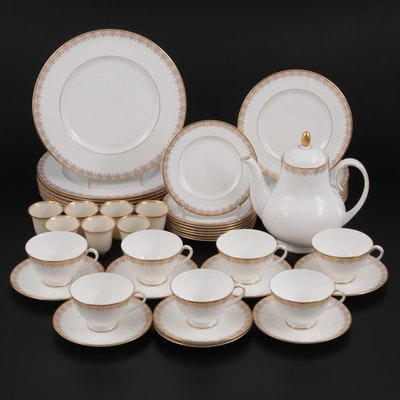 """Royal Doulton """"Gold Lace"""" Dinnerware and  Coffee Set with Lenox Demitasse Liners"""