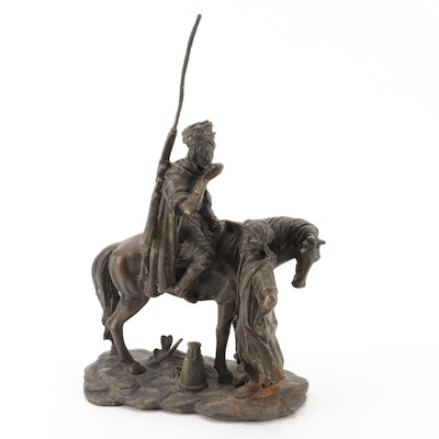 Orientalist Style Patinated Cast Metal Sculpture after Alfred Dubucand