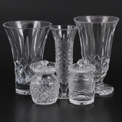 """Waterford Crystal """"Lismore"""" Crystal Vases and Other Jam Jars and Vase"""