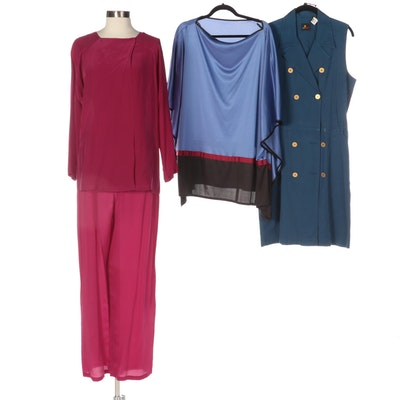 Maggy London Silk Pantsuit, Liz Sport Cotton Belted Dress, and Bill Tice Poncho