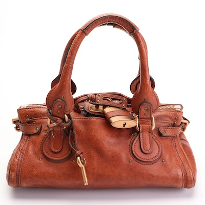 Chloé Paddington Small Satchel in Brown Grained Leather
