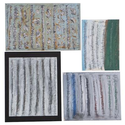 Achi Sullo Linear Abstract Mixed Media Paintings, Circa 1959