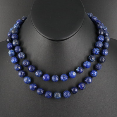 Lapis Lazuli Beaded Necklace with Sterling Silver Clasp
