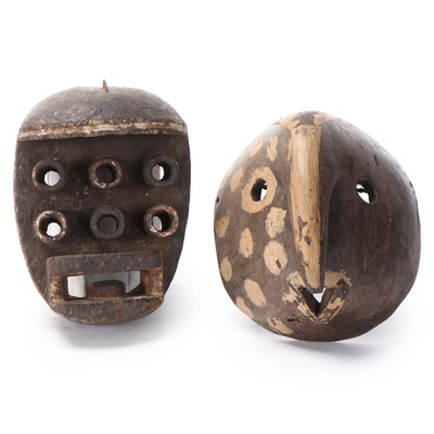 West African Inspired Hand-Carved Wood Masks