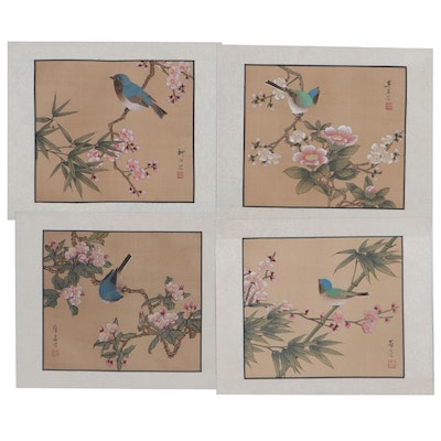 Chinese Watercolor Paintings Featuring Blooming Flowers and a Birds