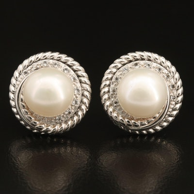 Sterling Pearl and Topaz Button Earrings