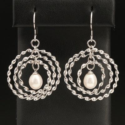 Sterling Pearl Drop Earrings