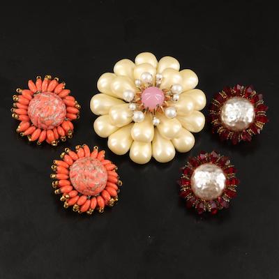 1950s Miriam Haskell Rhinestone Brooch and Earrings