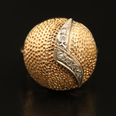 14K Diamond Textured Dome Ring