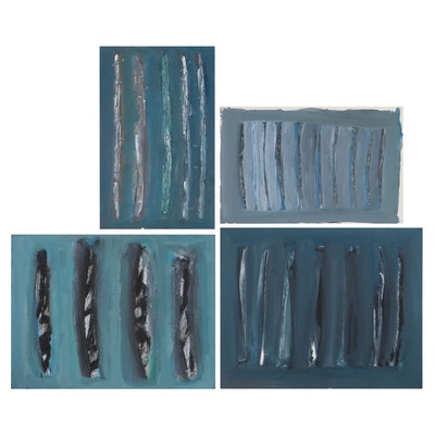 Achi Sullo Linear Abstract Oil Paintings, Circa 1958