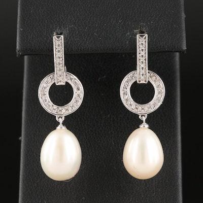 Sterling Pearl and Diamond Drop Earrings