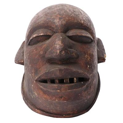 Makonde Hand-Carved Wood Helmet Mask, East Africa