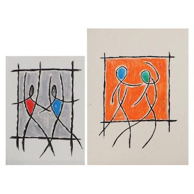 Achi Sullo Abstract Figural Oil Stick Drawings, Circa 1962