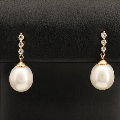 14K Pearl and Topaz Drop Earrings