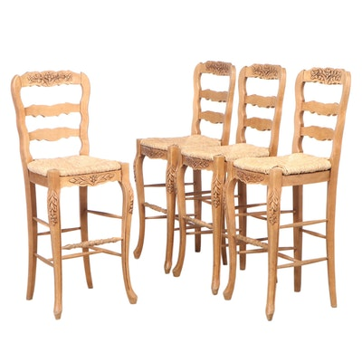 Four French Provincial Style Carved Beech Bar Stools