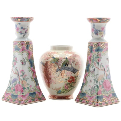 Chinese Gilt Porcelain Candlesticks with Japanese Porcelain Vase