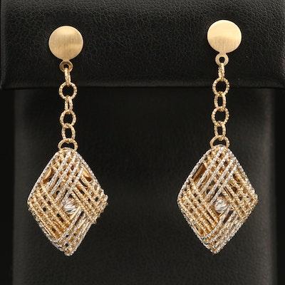 14K Woven Earrings with Diamond Cut Finish