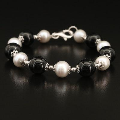 Sterling Pearl and Black Onyx Bracelet