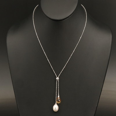 Sterling Pearl and Citrine Négligée Necklace