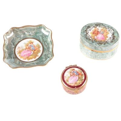 Gilt-Decorated Limoges Porcelain Boxes and Trinket Dish