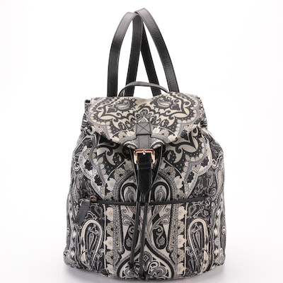 Etro Small Backpack in Printed Nylon and Black Leather