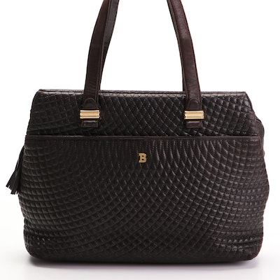 Bally Black Quilted Leather Tote with Tassel