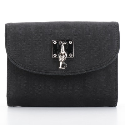 Christian Dior Monogram Wallet in Black Oblique Nylon and Leather