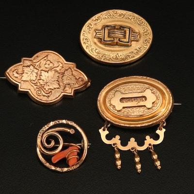 Victorian Brooches Including Taille d'Epargne and Coral