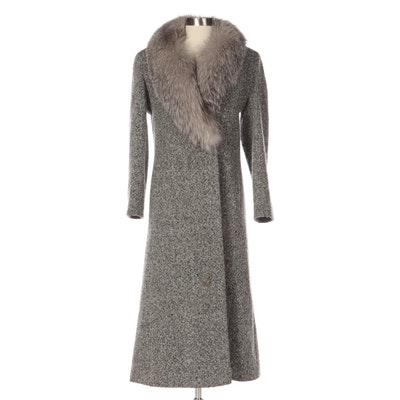 Madeline by Alorna Wool-Blend Tweed Full-Length Coat with Fox Fur Shawl Collar