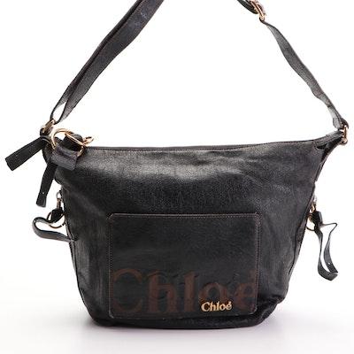 Chloé logo Black Leather Shoulder Bag