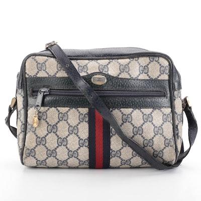 Gucci Web Stripe Crossbody Bag in Blue GG Supreme Canvas and Leather