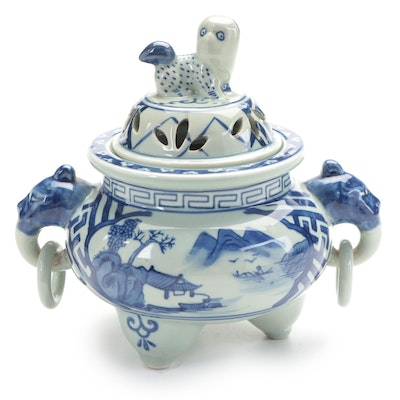 Chinese Blue and White Porcelain Censer with Guardian Lion Finial, Late 20th C.